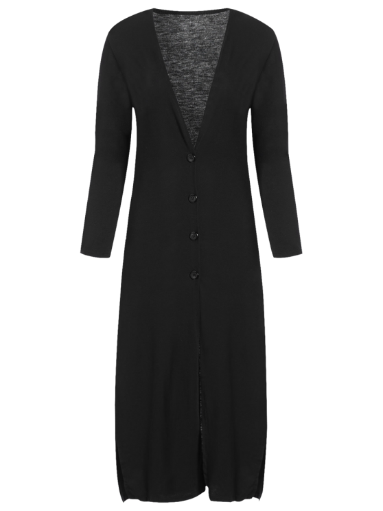 Long Fitting Buttoned Cardigan - BLACK S Mobile