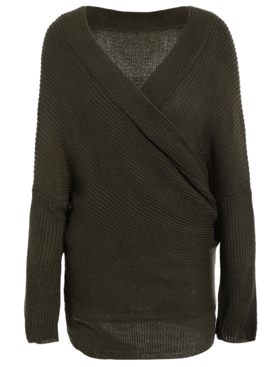 Wrap Front Sweater - ARMY GREEN ONE SIZE Mobile