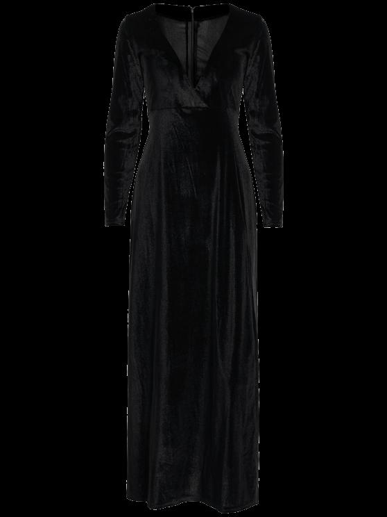 Long Sleeve High Slit Low Cut Maxi Dress - BLACK S Mobile