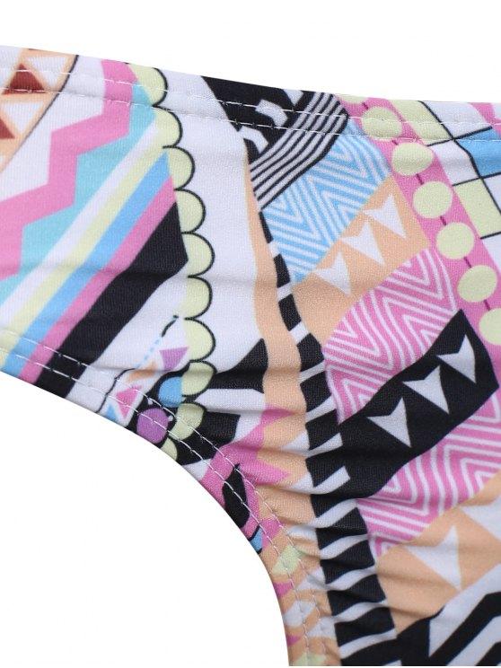 High Neck Criss Cross Geometric Bikini Set - PINK XL Mobile