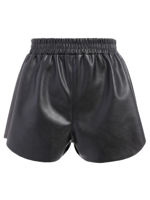 sale Elastic Waist Faux Leather Shorts - BLACK S Mobile