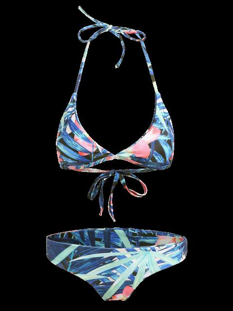 trendy Halter Plant Print Padded Bikini - FLORAL L Mobile