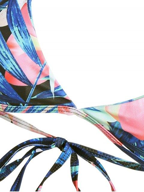 fashion Halter Plant Print Padded Bikini - FLORAL M Mobile