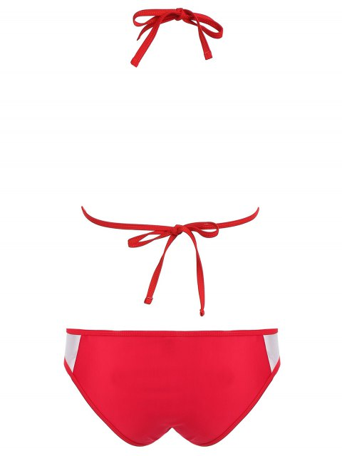 best Color Block See-Through Halter Bikini Set - RED M Mobile