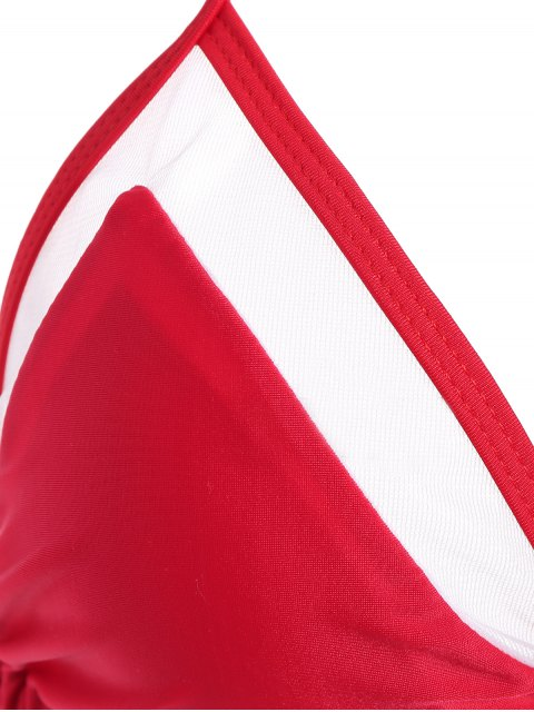 online Color Block See-Through Halter Bikini Set - RED S Mobile