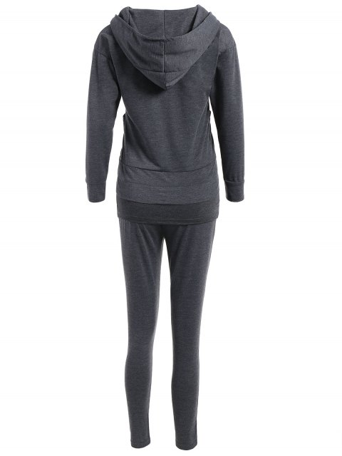 women Cami Top With Drawstring Pants With Hoodie - GRAY S Mobile