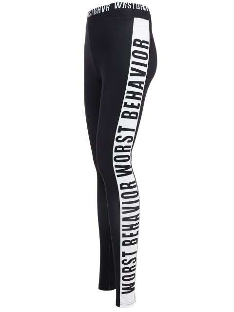 ladies Letter Print Color Block Sports Leggings - BLACK M Mobile