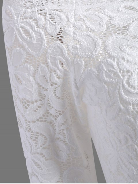 outfit Fitting Off The Shoulder Lace Blouse - WHITE L Mobile