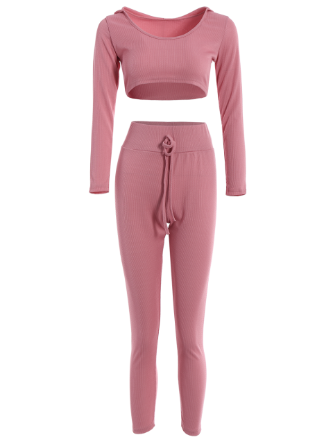 online Hooded Crop Top and Ninth Pants - PINK L Mobile