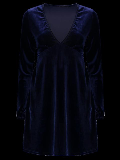 fancy Empire Waist A Line Velvet Dress - PURPLISH BLUE S Mobile