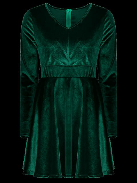 trendy Long Sleeve Velvet Thick Mini Swing Dress - GREEN XL Mobile