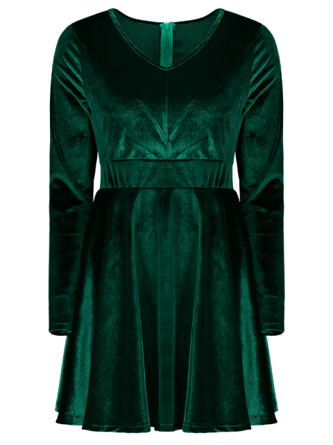 unique Long Sleeve Velvet Thick Mini Swing Dress - GREEN XS Mobile