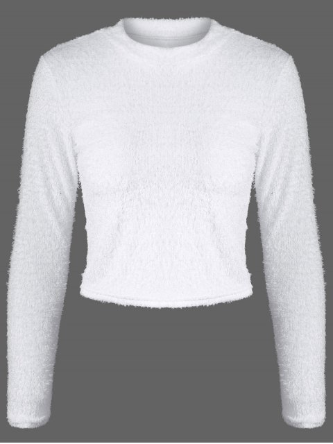 new High Neck Fuzzy Cropped T-Shirt - WHITE M Mobile