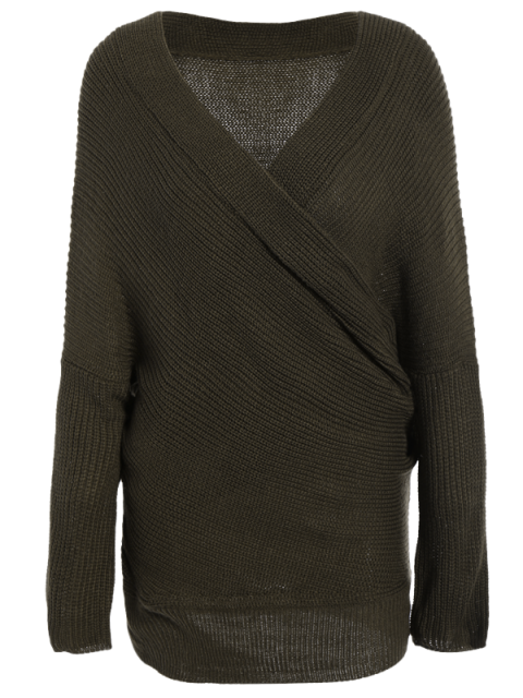 ladies Wrap Front Sweater - ARMY GREEN ONE SIZE Mobile