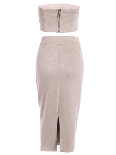 women's Suede Bodycon Skirt with Tube Top - LIGHT APRICOT PINK L Mobile