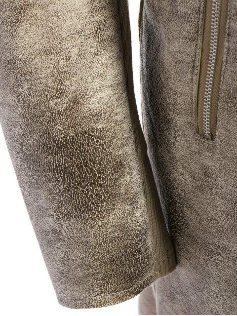 best Fleece Lining Faux Suede Shawl Coat - GRAY L Mobile
