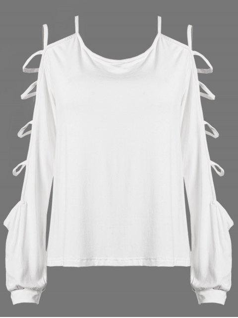fashion Scoop Neck Cutout Sleeve T-Shirt - WHITE 2XL Mobile