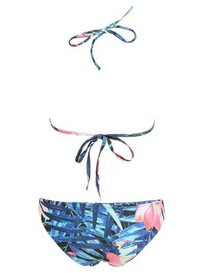 Halter Plant Print Padded Bikini - FLORAL L Mobile