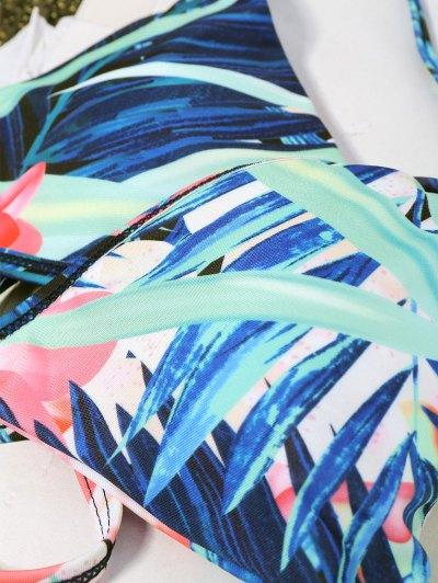 Halter Plant Print Padded Bikini - FLORAL S Mobile