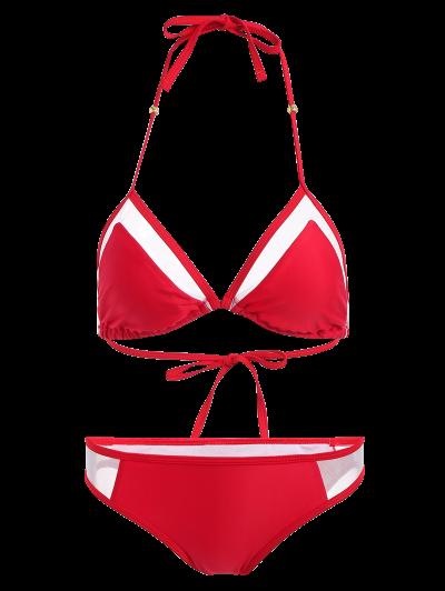 Color Block See-Through Halter Bikini Set - RED XL Mobile