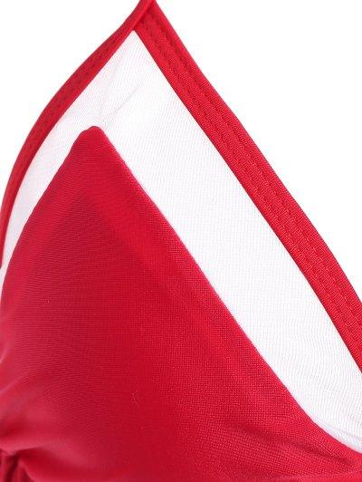 Color Block See-Through Halter Bikini Set - RED L Mobile