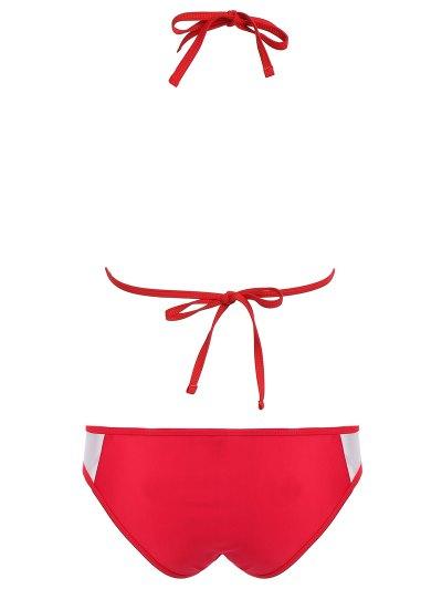 Color Block See-Through Halter Bikini Set - RED M Mobile