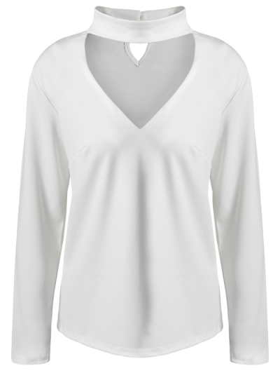 Stand Neck Long Sleeve Cutout T-Shirt - WHITE S Mobile