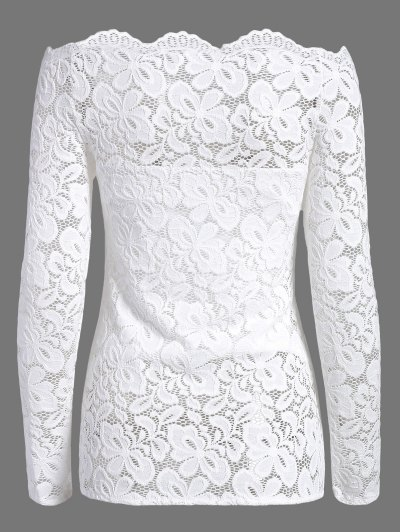 Fitting Off The Shoulder Lace Blouse - WHITE XL Mobile