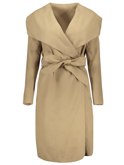 Shawl Collar Belted Wrap Coat - CAMEL S Mobile