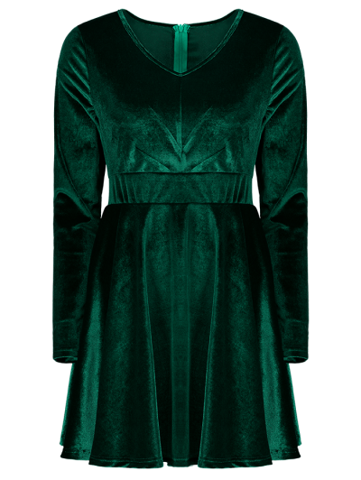 Long Sleeve Velvet Thick Mini Dress - GREEN XL Mobile