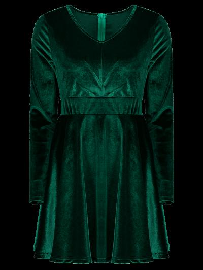 Long Sleeve Velvet Thick Mini Dress - GREEN S Mobile