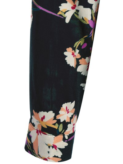Long Sleeves Maxi Floral Dress - CADETBLUE XL Mobile