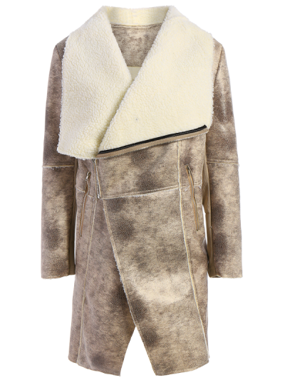 Fleece Lining Faux Suede Shawl Coat - GRAY L Mobile