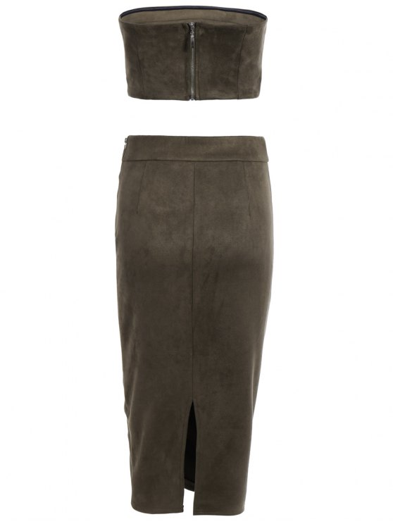 Suede Bodycon Skirt with Tube Top - ARMY GREEN L Mobile