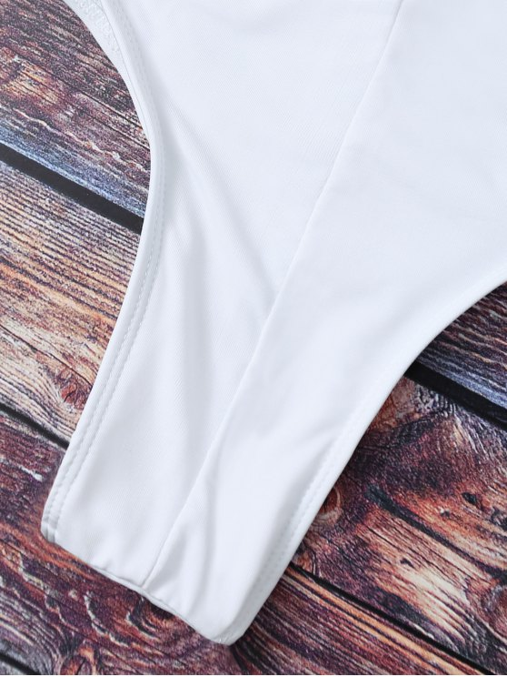 Cute Padded Criss Cross Bathing Suit - WHITE L Mobile