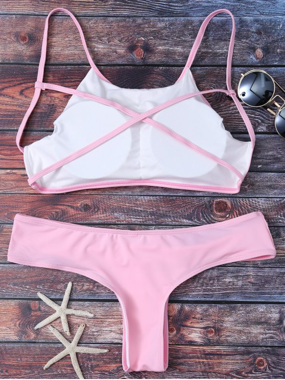 Cute Padded Criss Cross Bathing Suit - PINK L Mobile