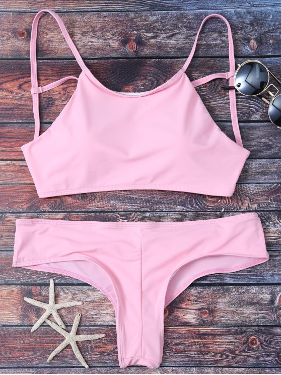 Cute Padded Criss Cross Bathing Suit - PINK M Mobile