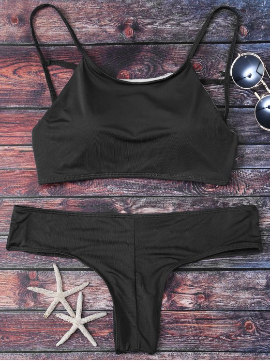 Cute Padded Criss Cross Bathing Suit - BLACK XL Mobile