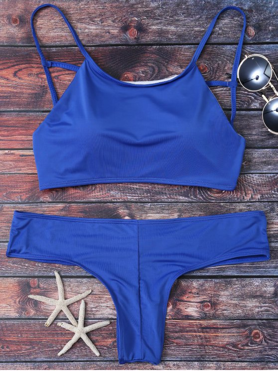 Cute Padded Criss Cross Bathing Suit - DEEP BLUE S Mobile