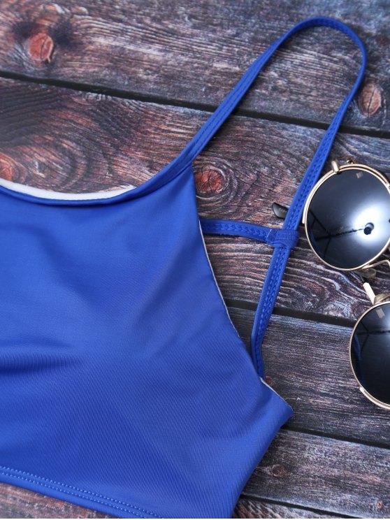 Cute Padded Criss Cross Bathing Suit - DEEP BLUE L Mobile