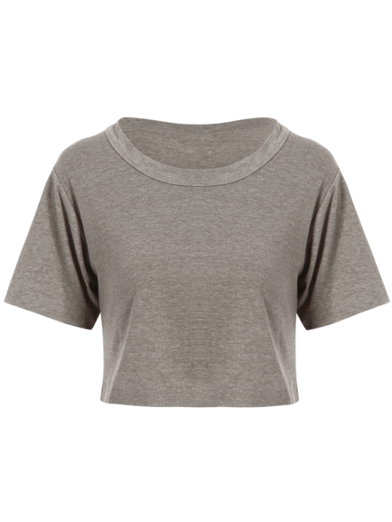 Solid Color Short Sleeve Jersey Crop Top - DEEP GRAY ONE SIZE Mobile
