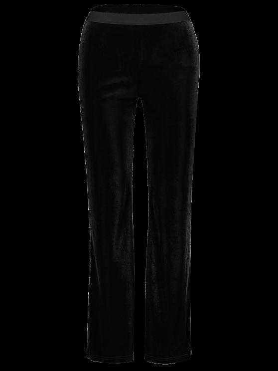 Velvet Boot Cut Pants - BLACK ONE SIZE Mobile