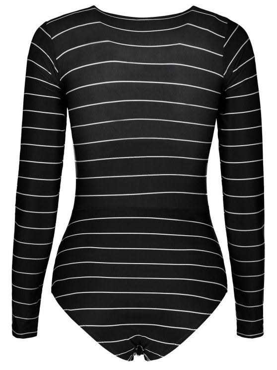 Striped Lace Up Long Sleeve One Piece Swimsuit - BLACK S Mobile