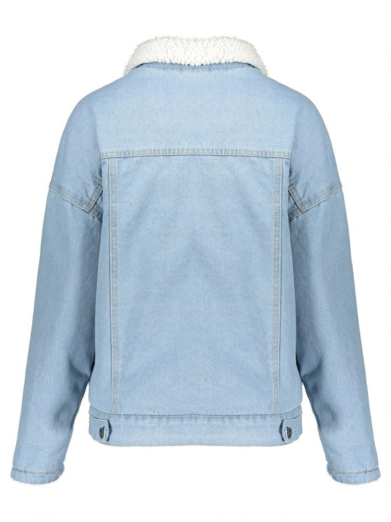 Faux Shearling Pockets Denim Coat - LIGHT BLUE M Mobile