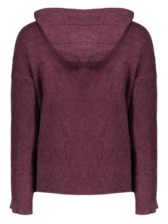 Long Sleeve Hoodie Sweater - PURPLISH RED ONE SIZE Mobile