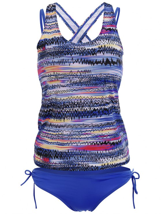 Backless Tankini Swimsuits - BLUE 2XL Mobile