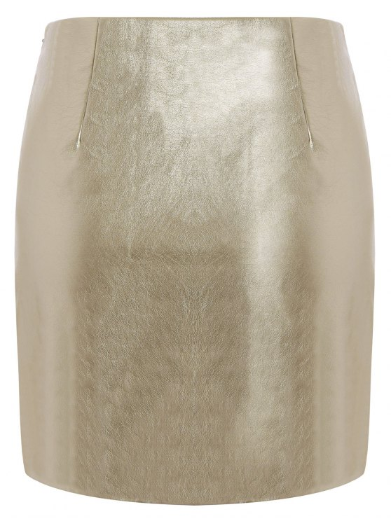 Metal Colour PU Leather Mini Skirt - GOLDEN M Mobile