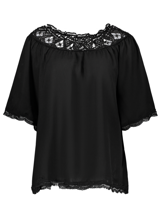 Off The Shoulder Lace Inset Blouse - BLACK M Mobile