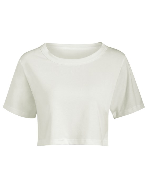 Solid Color Short Sleeve Crop Top - WHITE ONE SIZE Mobile