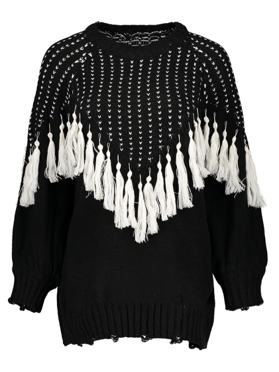 Pullover Sweater With Tassels - BLACK ONE SIZE Mobile